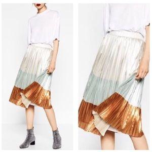 Zara Trafaluc Collection Pleated Colorblock Skirt